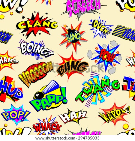 Colorful cartoon text captions. Explosions and noises. Vector wallpaper background that repeats left, right, up and down