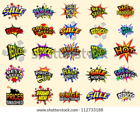 Colorful cartoon text captions. Sale and special offer. - stock vector