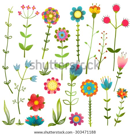 Colorful Cartoon Wild Flowers Isolated Collection . Cartoon colorful hand drawing blooming growth illustration set. Vector EPS10. - stock vector