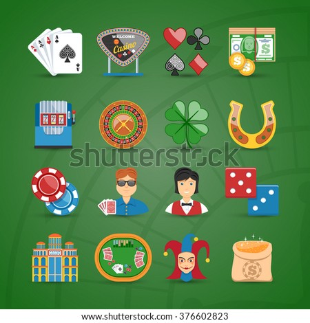 Colorful Casino And Gambling Flat Icons Set