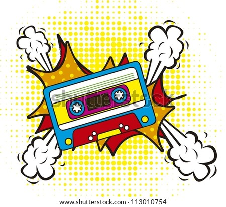 colorful cassette, pop art style. vector illustration - stock vector