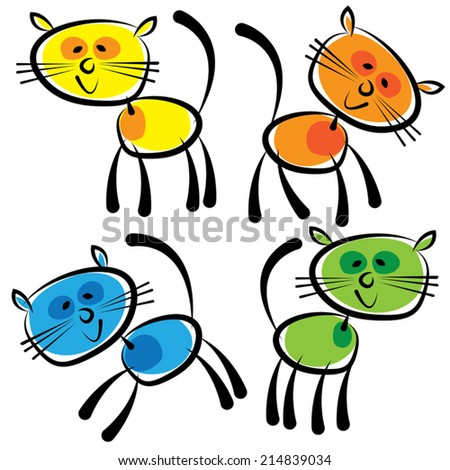 colorful cats isolated on a white background