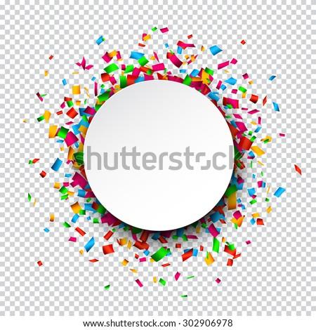 Colorful celebration background. Paper round speech bubble with confetti. Vector Illustration. - stock vector