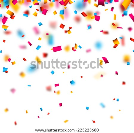 Colorful celebration background with defocused confetti. Vector illustration. - stock vector