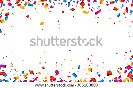 Colorful celebration frame background with confetti. Vector background. - stock vector