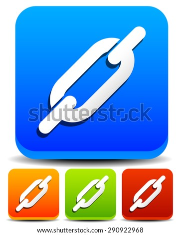 Colorful chain, chain link icons - Buttons, icons with chain link symbol. - stock vector