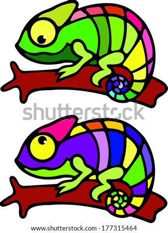 colorful chameleon - stock vector