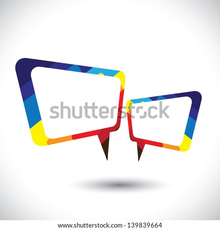 Colorful chat icon or speech bubble symbol- vector graphic. This colorful illustration also represents tete-a-tete between two people, gossip, intimate conversation, etc