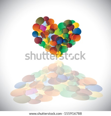 Colorful chat icons & speech bubbles as heart shape- concept vector. This illustration represents student community, social media communication or online chats and dialogs, discussions, etc  - stock vector