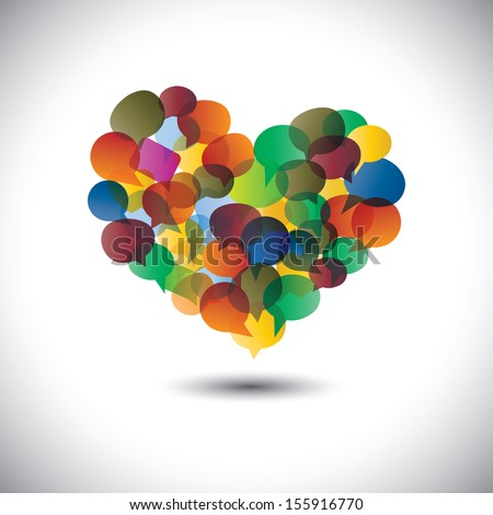 Colorful chat icons & speech bubbles as love symbol- concept vector. This graphic represents student community, social media communication or online chats and dialogs, discussions, etc  - stock vector