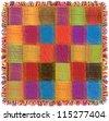 Colorful checkered quilt gingham plaid with fringe - stock