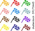 colorful checkered racing flags - stock photo