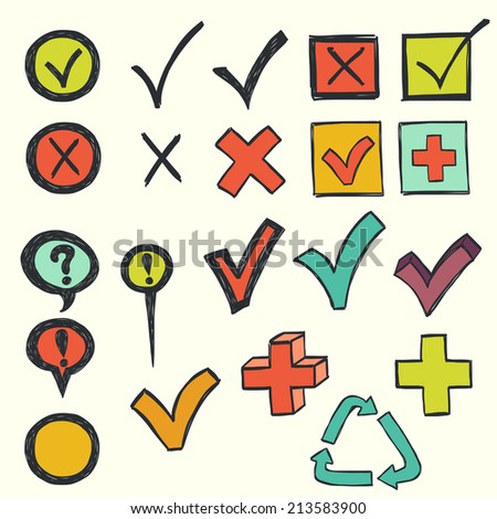 Colorful checkmarks and checkboxes drawn in a doodled style on lined notebook paper. - stock vector