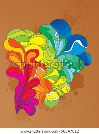 Colorful cheerful element for your design. CMYK gamut. - stock vector