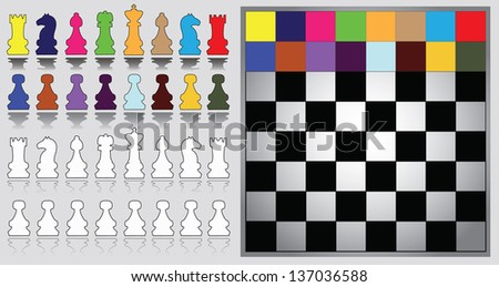 Colorful chess pieces and chessboard - stock vector