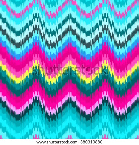 Colorful chevron ornament tradition stylish ornament for clothes and fashion. Vector zig zag ikat seamless pattern. - stock vector