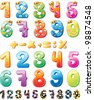 Colorful children numbers - stock vector