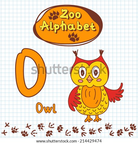 Colorful children's alphabet with animals, owl - stock vector