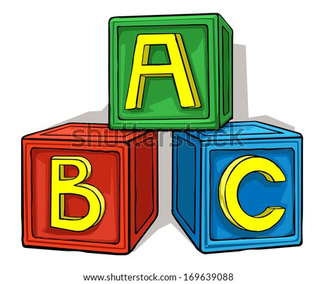 colorful children's block toys with alphabet, vector illustration - stock vector
