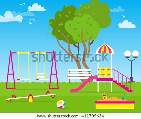 Colorful Children's playground with Swings, slide, sandbox, bench, teeter board. Kids playground. School Children's park. Buildings for city construction. Kindergarten Vector flat design illustration - stock vector