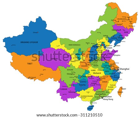 Colorful China Political Map Clearly Labeled Stock Vector (Royalty ...