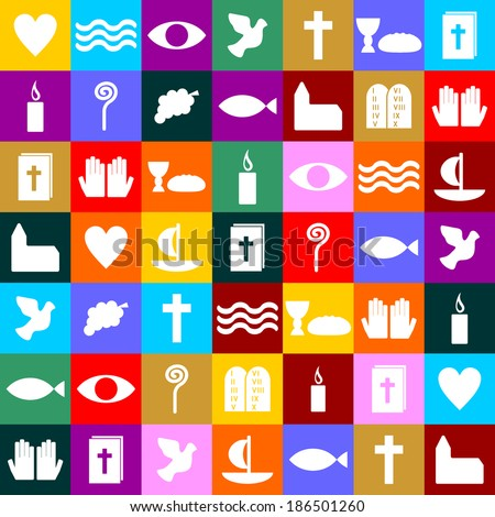 colorful christian symbols - stock vector