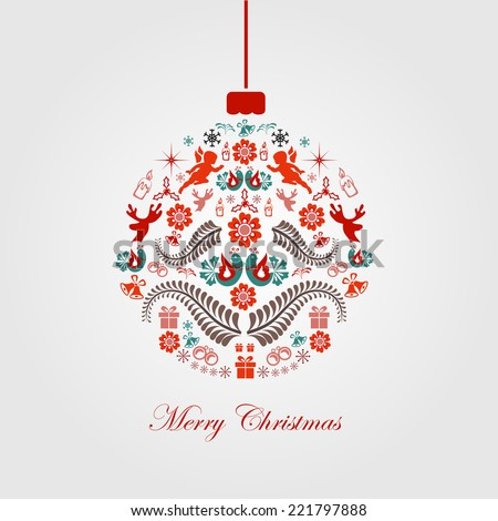 Colorful Christmas Ball in Retro Style. Vector. Illustration - stock vector