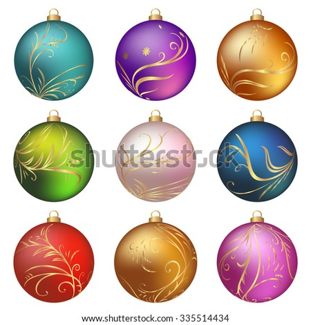 Colorful Christmas balls collection on a white background . Vector illustration. - stock vector