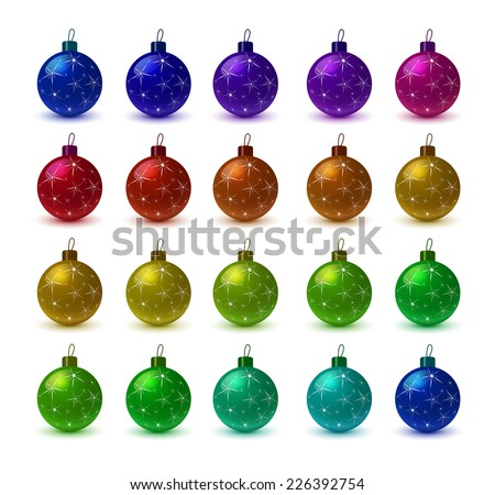 Colorful christmas balls. Set of isolated realistic decorations. Ball for the Christmas tree - stock vector