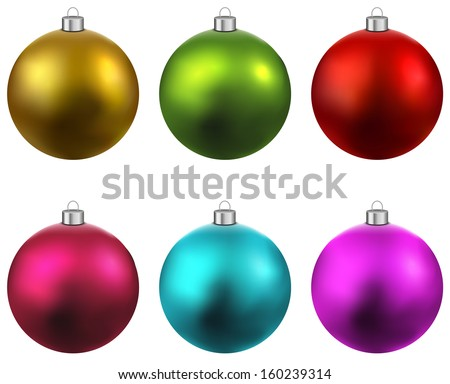 Colorful christmas balls. Set of isolated realistic decorations. Vector illustration.  - stock vector