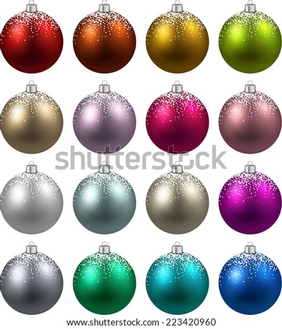 Colorful christmas balls with snow. Set of isolated realistic decorations. Vector illustration.  - stock vector