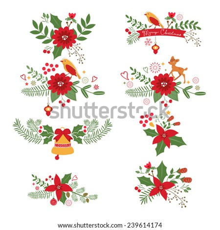 Colorful Christmas banners and laurels with flowers, birds, deers, hollies and leaves. Ideal for invitations and Christmas cards - stock vector