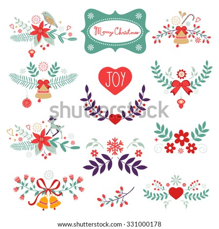 Colorful Christmas banners. Ideal for invitations and Christmas cards - stock vector