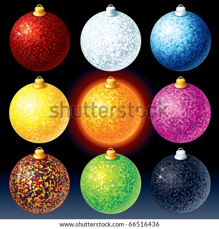 Colorful Christmas Baubles - vector illustration only gradients used - stock vector