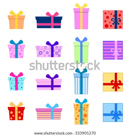 Colorful christmas / birthday gifts collection vector illustration. - stock vector
