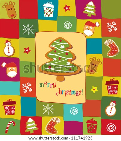 Colorful Christmas card with gingerbread design elements