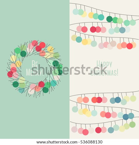 Colorful Christmas cards with Christmas wreath and pom-pom garland