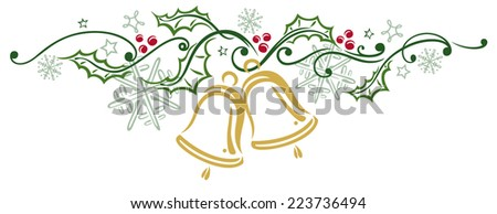 Colorful Christmas decoration, christmas bells and holly - stock vector