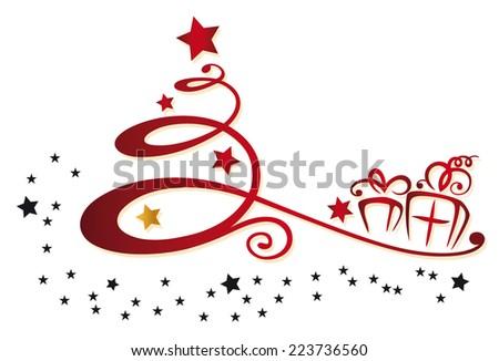 Colorful Christmas decoration, christmas tree and stars - stock vector
