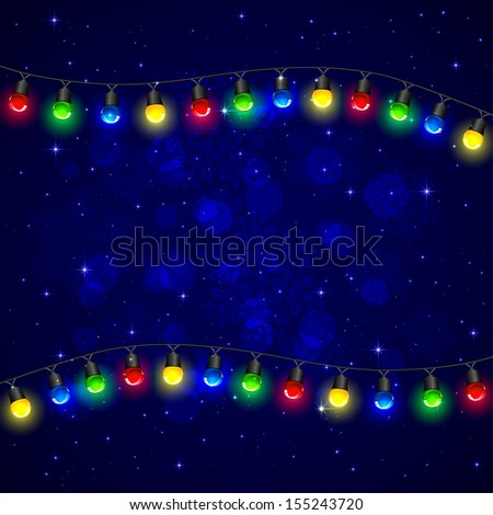 Colorful Christmas light on blue background, illustration. - stock vector