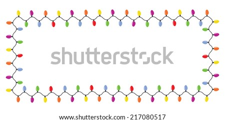 Colorful christmas lights border isolated on white background