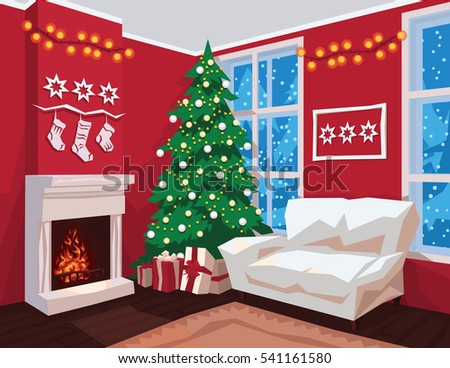 Fireplace Scene Stock Images RoyaltyFree Images Vectors - Christmas cabin fireplace scenes