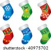 Colorful Christmas Stockings - stock vector