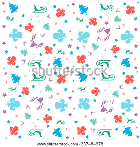Colorful Christmas texture on white background: Christmas tree, snow flake, star, sleigh, angel, rein deer isolated - stock vector