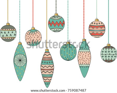 Colorful Christmas tree decoration balls hand sketch ornaments