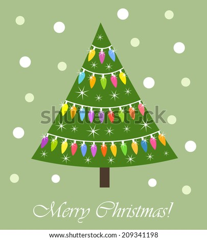 Colorful Christmas tree with lights card. Vector illustration - stock vector