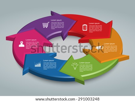 Colorful Circle Arrows With Business Icon And Information Text Design. 6 Options, 3D Design, Financial and Business Infographic, Life Cycle Diagram,Workflow/Element Layout Design. Vector Illustration. - stock vector
