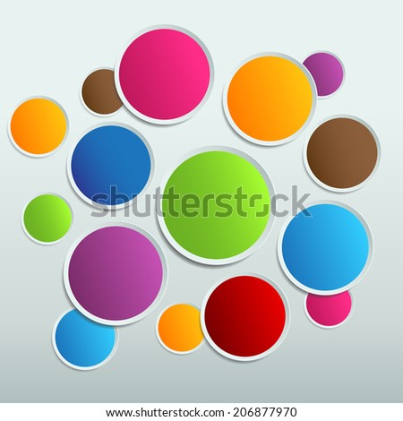 colorful circle cut paper design template. Vector illustration for your business presentation. icon.