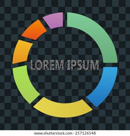 Colorful circle diagram on the black background - stock vector