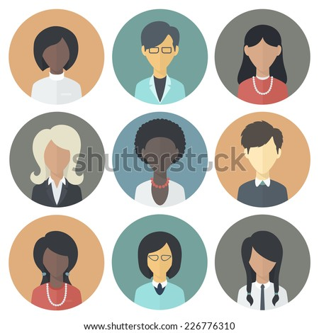 Colorful Circle Icons Set of Persons Female Different Nationality in Trendy Flat Style - stock vector
